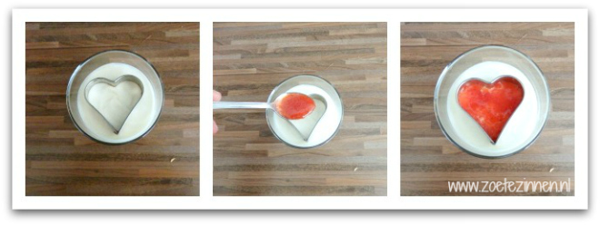Recept no bake cheesecake, uitleg hartje aardbeiensaus