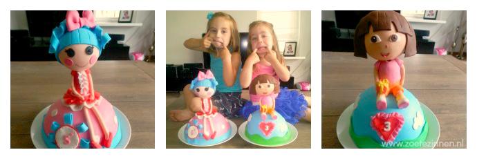 Een Dora en een Lalaloopsy taart met een Dora en Lalaloopsy van Rice Krispies